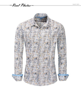 New Fashion Print Shirt Men Long Sleeve 100% Cotton Casual Slim Fit Floral Dress Shirt Male Streetwear - moonaro