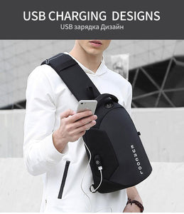 Multifunction Crossbody Bags Men USB Charging Chest Pack Short Trip Messengers Chest Bag Water Repellent Shoulder Bag Male