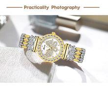 Load image into Gallery viewer, Butterfly Women Watches Luxury Brand Big Diamond 18K Gold Watch Waterproof Special Bracelet Ladies Wrist Watch