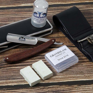 Straight Razor Set Men Cut Throat Shaving Razor with Leather Sharpen Strop,Alum Stick After Shave Shaving Facial Toner