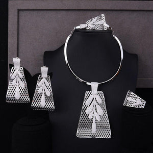 Luxury Party Square 4PCS Jewelry Set For Women Wedding Zircon Bridal Jewelry Set - moonaro