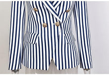 Load image into Gallery viewer, Women Work Wear Blazer Street-Wear Fashion Striped Printed Top Jacket Two Colour Slim Blazer