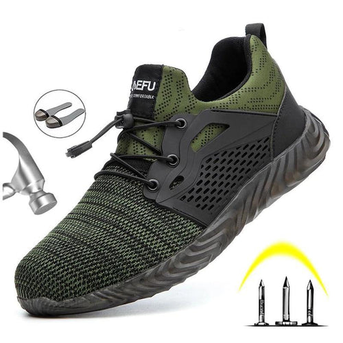 Safety Shoes Boots For Men Autumn Breathable Work Shoes Steel Toe Indestructible Safety Work Boots Sneakers