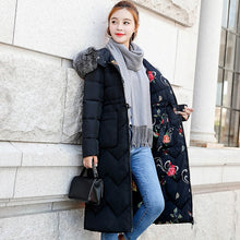 Load image into Gallery viewer, Women Winter Jacket With Fur Hooded Long Coat Cotton Padded Both Two Sides Can Be Wore