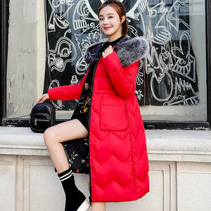 Women Winter Jacket With Fur Hooded Long Coat Cotton Padded Both Two Sides Can Be Wore