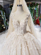 Load image into Gallery viewer, lace wedding dresses with wedding veil o neck appliques long sleeve ball gown wedding gowns vestido de novia de encaje