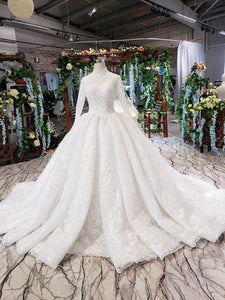 luxury wedding dresses long sleeves high neck lace up back appliques ball gown lace wedding gowns vestidos de boda