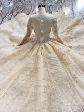 Load image into Gallery viewer, champagne gold wedding dresses with train o neck long sleeve ball gown lace wedding gowns vestido de noiva