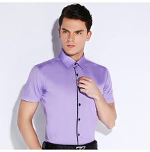 Load image into Gallery viewer, Men's Summer Short Sleeve Solid Twill Dress Shirt Single Pocket Standard-fit Formal Work Office Basic Design Tops Shirts
