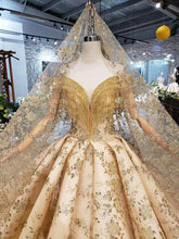 Load image into Gallery viewer, Golden lace Wedding Dress with wedding veil v-neck crystal tassel princess bridal dresses for girl vestidos de novia