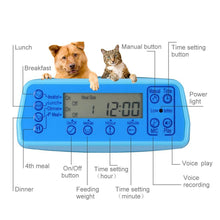 Load image into Gallery viewer, Automatic Pet Feeder Dogs Cats Food Dispenser with Voice Record Remind Timer Programmable Distribution Alarm IR Detect