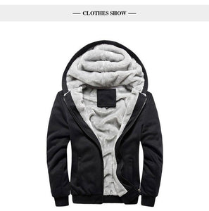 Winter Men's Fleece Jacket Thick Solid Bomber Jackets Men Slim Fit Hooded Coat Man Tracksuit