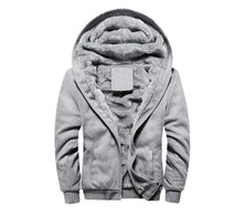 Load image into Gallery viewer, Winter Men's Fleece Jacket Thick Solid Bomber Jackets Men Slim Fit Hooded Coat Man Tracksuit