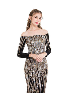 Women's Off Shoulder Long Sleeve Evening Dresses Twinkling Sequin Gold Party Gown