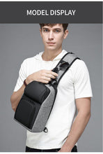 Load image into Gallery viewer, Casual Chest Bag for Men 9.7 inch iPad Messenger Bags with USB Charging Port Shoulder Bag Male