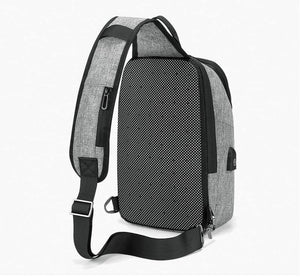 Casual Chest Bag for Men 9.7 inch iPad Messenger Bags with USB Charging Port Shoulder Bag Male
