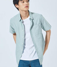 Load image into Gallery viewer, Short sleeve shirt male summer new Korean version vertical stripes cotton shirt men clothes bottoming shirt