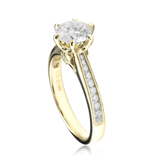 Luxury 14k Yellow White Gold 1ct Round Cut Lab Grown Diamond Engagement Wedding Ring Moissanites Ladies Ring Fine Jewelry