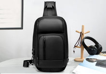 Load image into Gallery viewer, Black Chest Packs Men USB Charging Casual Shoulder Crossbody Bags Water Repellent Travel Messenger Bag Male