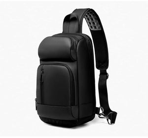 Black Chest Packs Men USB Charging Casual Shoulder Crossbody Bags Water Repellent Travel Messenger Bag Male