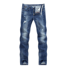 Load image into Gallery viewer, Men Fashion Biker Jeans New Design destroyed Man Rip Jean Slim Straight Hip hop Stretch Blue Casual Denim Pants Joggers