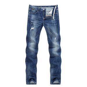 Men Fashion Biker Jeans New Design destroyed Man Rip Jean Slim Straight Hip hop Stretch Blue Casual Denim Pants Joggers