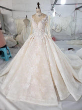 Load image into Gallery viewer, detachable train Wedding Dress with wedding veil o neck long bridal dress gown vestido de noiva princesa
