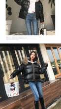 Load image into Gallery viewer, Women's Winter Silver Jacket Down Jacket Real Fox Fur Collar White Duck Double-sided Down Parka Outerwear Thick Warm Glossy Coat