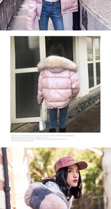 Women's Winter Silver Jacket Down Jacket Real Fox Fur Collar White Duck Double-sided Down Parka Outerwear Thick Warm Glossy Coat