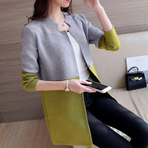 Autumn Loose Knitwear Tops Patchwork Long Cardigan Sweaters Winter Women Sweaters and Cardigans