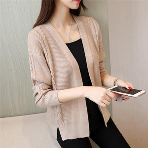 Women Sweater Cardigan Fashion Autumn Winter Scarf Collar Twist Hem Split Knitted Cardigan Jumper Female Sweaters