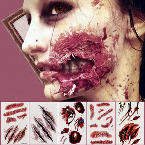 Halloween Party Decoration Zombie Scars Tattoos with Fake Scab Bloody Makeup Halloween Props Wound Scary Blood Injury Sticker,Q