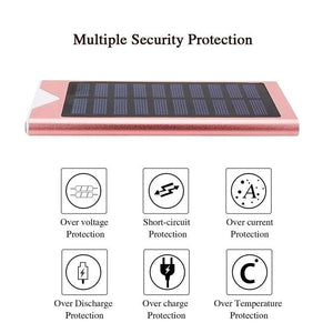 Outdoor Solar Power Bank Waterproof 10000mAh  2 USB Ports External Charger Ultra-thin Powerbank for Xiaomi IPhone X Battery Pack