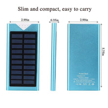 Load image into Gallery viewer, Outdoor Solar Power Bank Waterproof 10000mAh  2 USB Ports External Charger Ultra-thin Powerbank for Xiaomi IPhone X Battery Pack