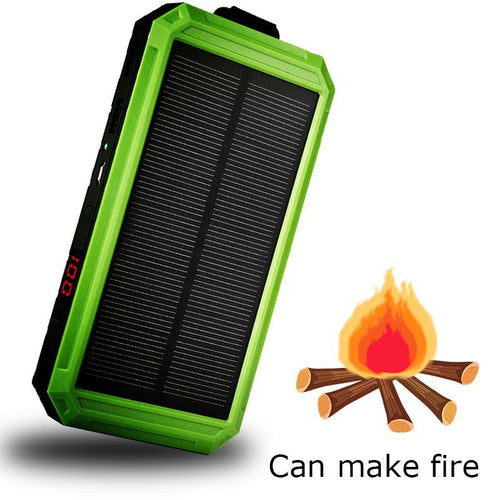 Waterproof Solar Charger Ports External Charger Powerbank10000mAh Power Bank for Xiaomi Smartphone with LED Light lighter