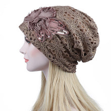 Load image into Gallery viewer, Turban Hats For Women Lace Slouchy Beanie Cap Winter Knitted Skullies Caps Fashion Flower