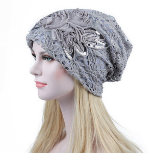 Turban Hats For Women Lace Slouchy Beanie Cap Winter Knitted Skullies Caps Fashion Flower