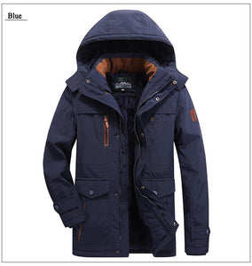 winter Parka jacket men thick wool Liner multi-pocket Business casual cotton parkas man snow coat windbreaker fur hooded overcoat