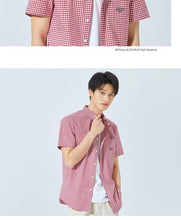 Load image into Gallery viewer, summer new short-sleeve shirt male Korean version cotton retro check student Japanese shirt tide - moonaro