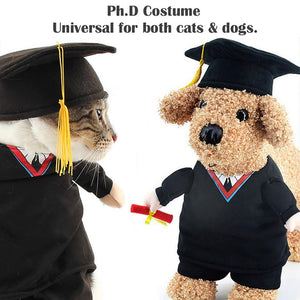 Cat Dog Costume PhD Cat Apparel Clothes for Dogs Halloween Christmas Cosplay Clothing Outfit Costume for a cat