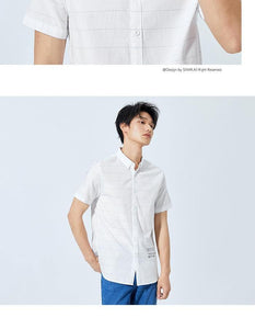 summer new short sleeved shirt men's casual loose striped contrast color lapel shirt ins trend male