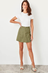 Women Fashion Skirt Button Detail Skirt Women Up Knee Short Skirt New Style Skirt