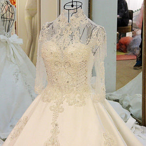 Luxury wedding dress for bridal beading ball gown long sleeves lace wedding gowns vestidos de noivas
