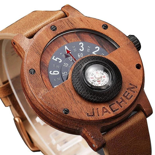 Unique Compass Turntable Number Design Mens Wooden Watch Men Brown Wood Leather Band Creative Natural Wood Wrist Watches