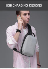 Load image into Gallery viewer, Casual Messenger Bag Male USB Charging Port Short Trip Chest Pack 9.7 inch iPad Shoulder Bag Men Crossbody Bags