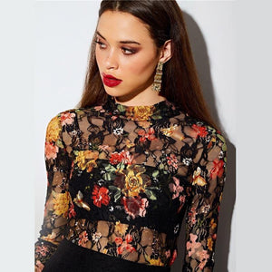 Keyhole Back Fitted Floral Lace Top Without Bandeau Women Long Sleeve Sheer Pullovers Tops Autumn Slim Sexy Tees