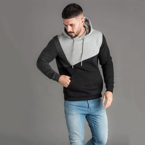 Men's Hoodies Sweatshirt Streetwear Patchwork Hoody Pullover Black White Hoodie Men Winter Fleece Sweatshirts Clothing