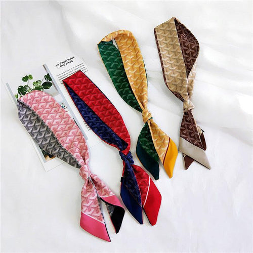 Scarf Women Kerchief Plaid Stripe Print Scarf Female Fashion Two-sided Handle Headband Skinny Scarves