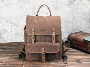 Business Backpacks Crazy Horse Leather Backpack for 13.3 inch Laptop Vintage Men Travel Bags Quality Male Mochilas