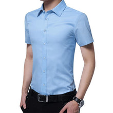 Load image into Gallery viewer, Men Short-Sleeved Shirt Slim Fit Summer Fashion Siold Color Dress Suits Male Boys business Shirt